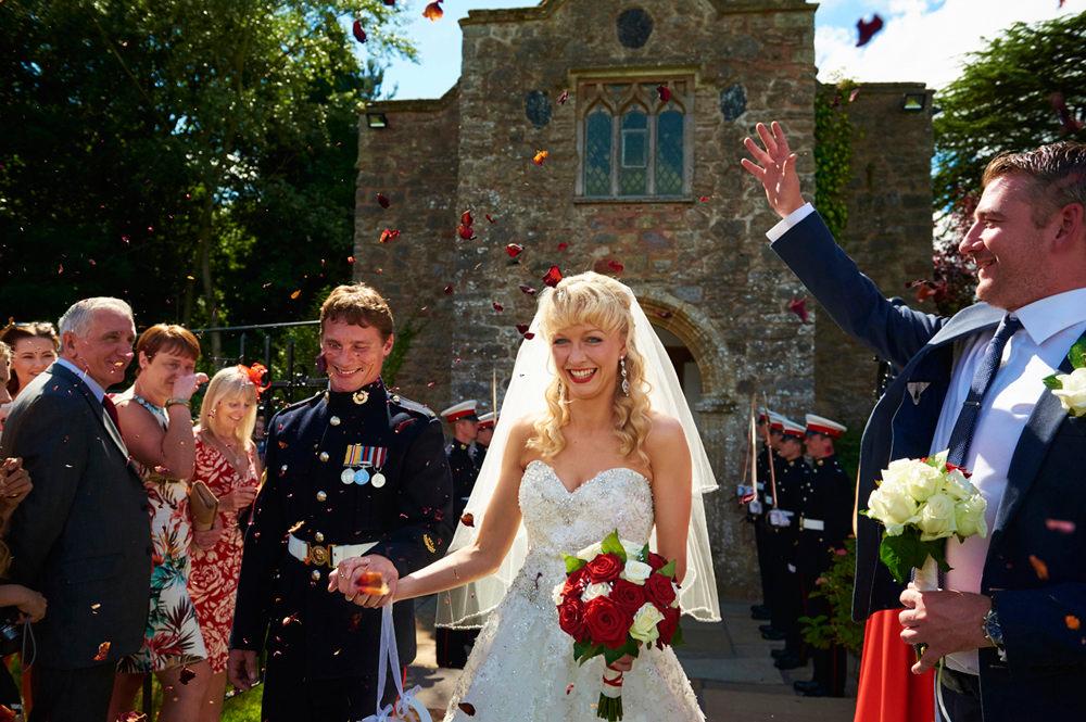 Groom Marine and Bride confetti shot