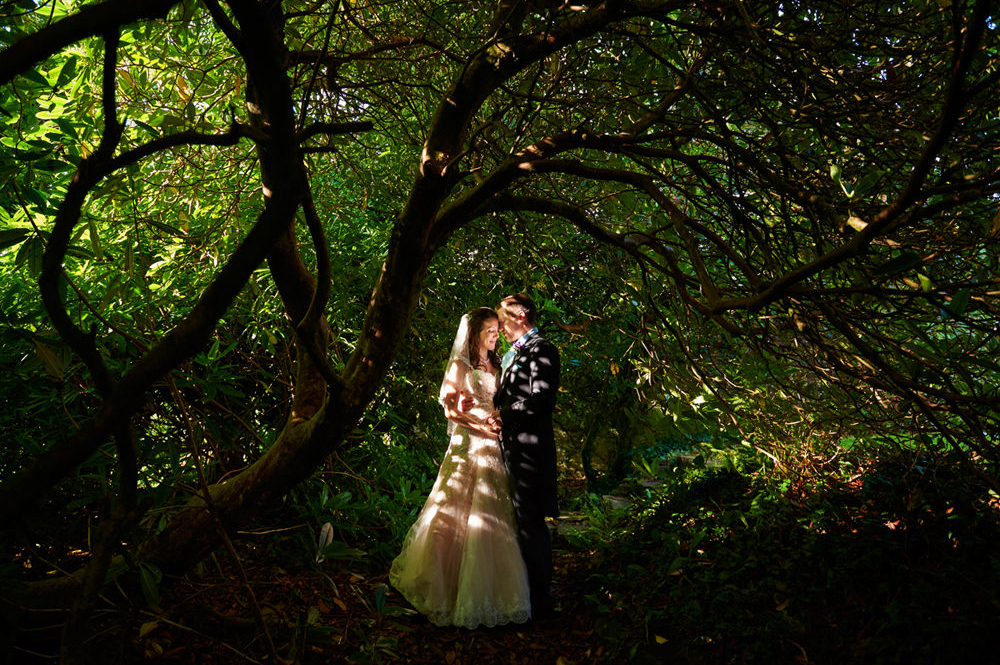 wedding photographer in Devon - bride and groom under trees
