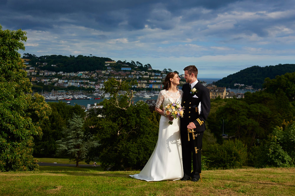 Navy Groom and Bride at Dartmouth