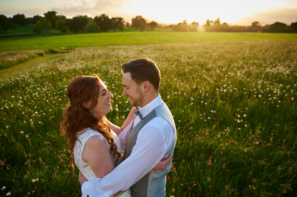 Bride and groom and sunset at Rockbeare in Exeter