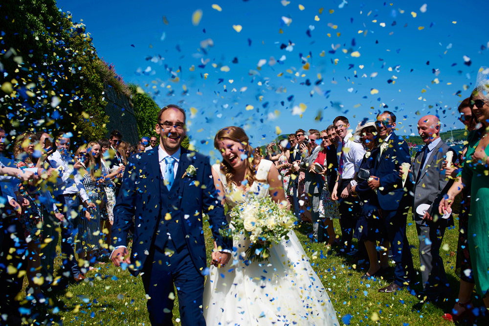 Salcombe Harbour Hotel Wedding confetti shot