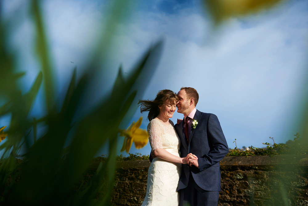 Salcombe Harbour Hotel wedding - bride and groom and blue sky