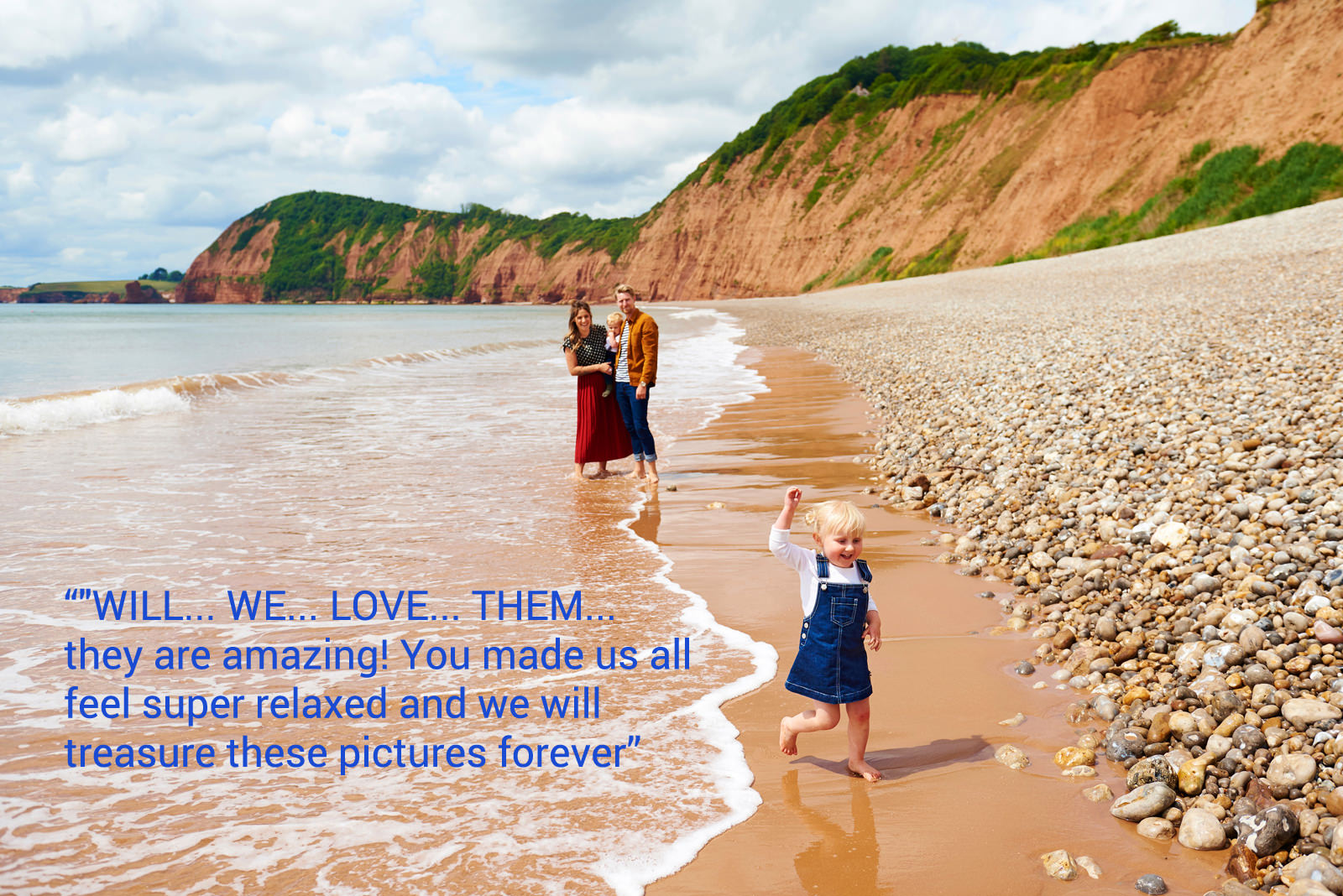 Devon family playing by the sea in Sidmouth